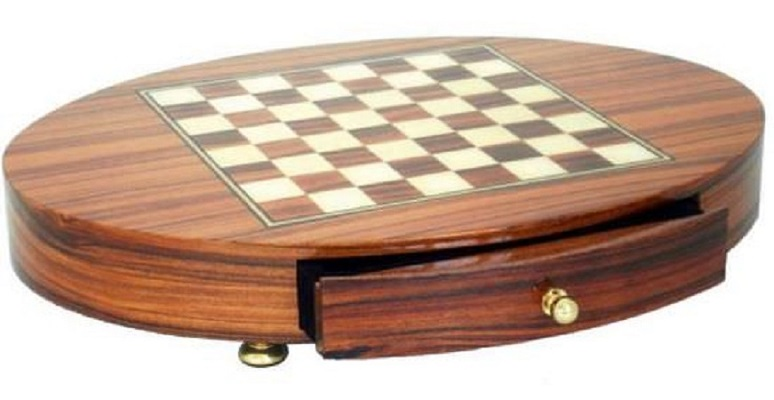 Chess Board – Rosewood, Hand Inlaid With Drawer