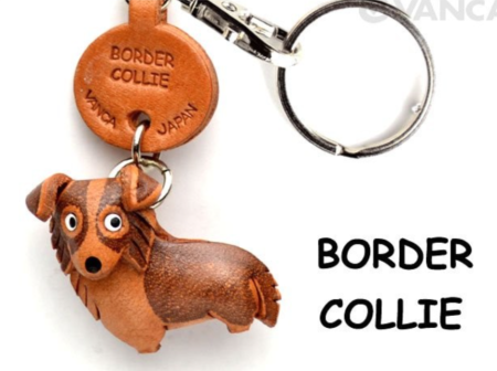 Leather Key Chain – Border Collie