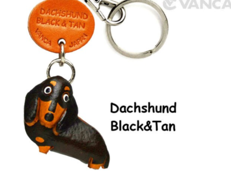 Leather Key Chain – Dachshund Black & Tan