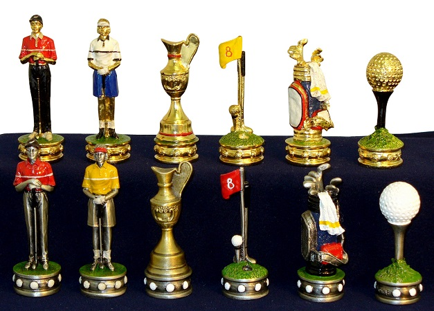 Chess Pieces – Golf; Gold Silver Plated On Pewter