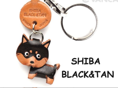 Leather Key Chain – Shiba Black & Tan